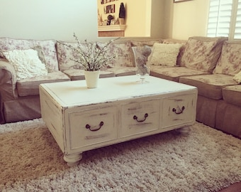 SAMPLE: Shabby Chic White Distressed Large Solid Wood Coffee Table