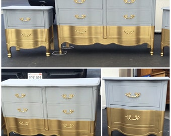 La Credenza Vertaling : Sample: blue and gold 9 drawer french provincial dresser etsy