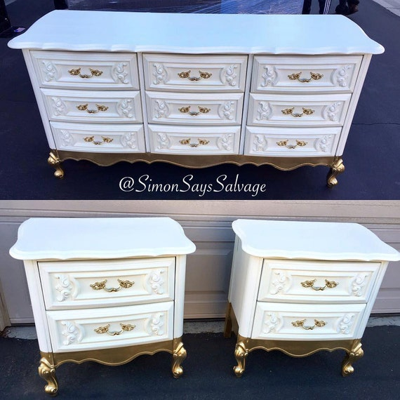 Sample white and gold french provincial bedroom set etsy for White and gold bedroom furniture set