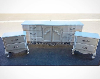 White and silver dipped french provincial bedroom set, dresser and nightstands