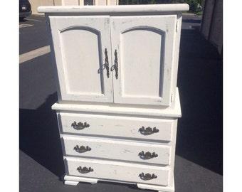 PORTFOLIO- White Distressed Shabby Chic Dresser/Armoire