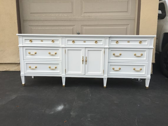 White And Gold Mid Century Modern Dresser Tv Stand Credenza Etsy