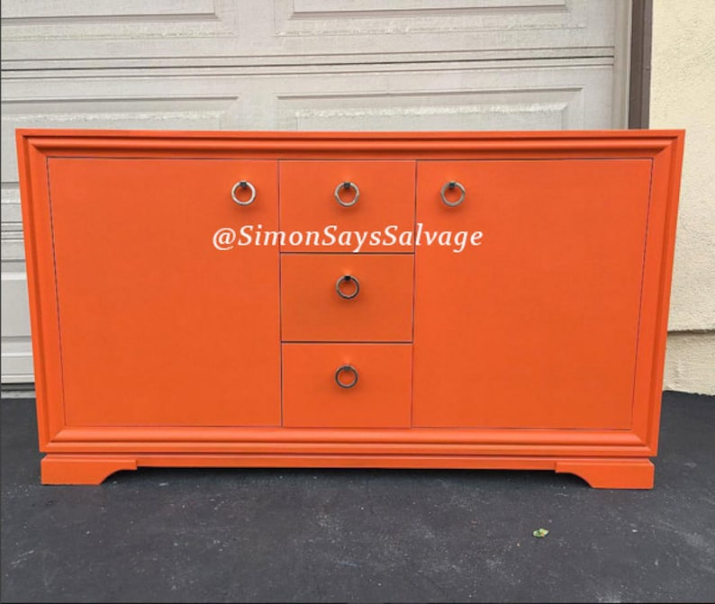 Changing Table Gold Mid Century Modern Dresser SAMPLE: Orange Buffet tv stand or Credenza