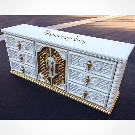 White Gold Regency Dresser Tv Stand Credenza Changing Etsy