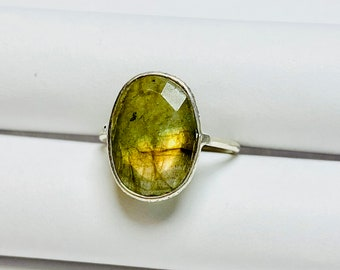 gemstone ring A281 Labradorite ring Natural Spectrolite Labradorite ring solid sterling silver ring handmade ring