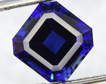 4x4mm - 15x15mm Lab Created Blue Sapphire Corundum Asscher AAA Loose Gemstones