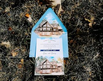 Minocqua Cabin Custom Watercolor Save the Date. Wisconsin Wedding Invitation.