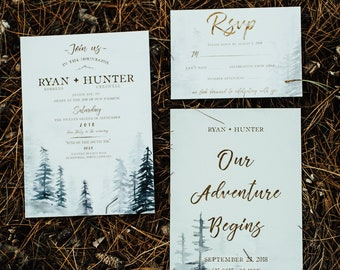 Woodland and elegant, pine tree watercolor wedding invitation suite. Copper calligraphy. Matching Save the date and RSVP card.