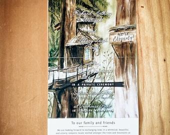 Treehouse Point tri-fold watercolor wedding invitation in Issaquah, Washington