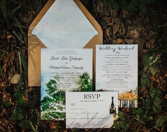 Gainey Vineyard in Santa Ynez, California custom watercolor wedding stationery suite. Envelope liner. Wine RSVP. Winery invitation.