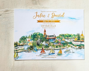Marblehead, Massachusetts Custom wedding invitation. Old North Church. Gold Fish
