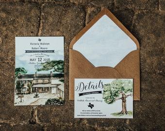 Rustic Hidden Gardens Venue Wedding Invitation Set. Texas Wedding