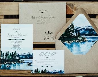 Lake Tahoe Custom Watercolor Wedding Suite. Woodland-Pine Trees, lake, mountain wedding. Sierra Nevada Mountain range. California Wedding