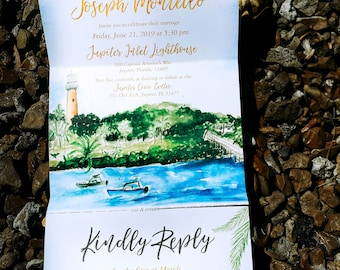 Trifold Wedding Invitation Mailer. All In One Wedding Invitation. Watercolor Jupiter Inlet Lighthouse. Florida Wedding.