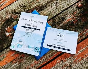 Briar Barn Inn Wedding Invitation in Rowley Massachusetts. Winter Wedding. North Shore Wedding.