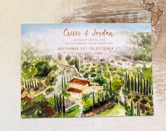 Welcome to Tuscany Wedding invitation set. Custom watercolor. Italian wedding. Illustrated timeline. Welcome card
