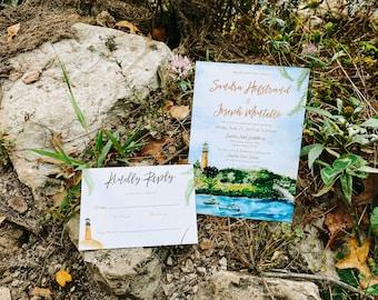 Jupiter Inlet Lighthouse Watercolor Wedding Invitation. Florida Wedding Invite. Lighthouse Watercolor. Ocean Scene Invitation.