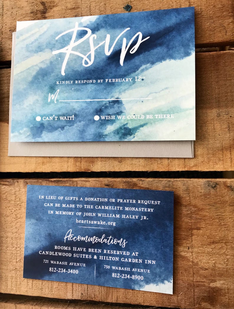 Blue wash watercolor wedding invitation set  Tranquil painted blues save  the dates  Matching RSVP and details card  Modern wedding