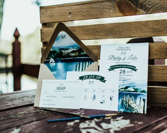 Dreamy and Rustic Lake District Watercolor Wedding Invitation Set