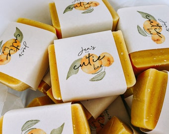 Handmade All Natural Soap with custom Label. Cutie Orange scented soap. Baby Shower gift soap. Soap Label.