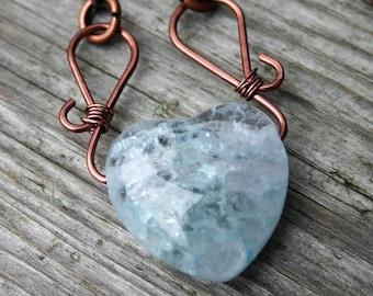 Light Blue Quartz Heart Pendant Necklace, Blue Gemstone and Copper Heart Necklace, Heart Pendant Necklace