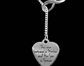 Mom Gift, Mother Necklace, The Love Between Mother And Son Is Forever Mom Mother's Day Gift Infinity Lariat Necklace