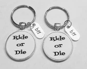 Best Friend Gift, Ride Or Die Keychain, Best Friend Keychain, Bff Best Friend Forever Christmas Gift Keychain Set