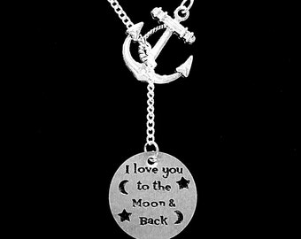 Gift For Her, I Love You To The Moon And Back Necklace, Gift Mother Sister Wife Best Friend Sister Anchor Y Lariat Necklace