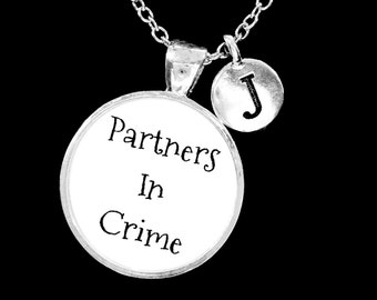 Gift For Her, Initial Necklace, Best Friend Necklace Gift, Partners In Crime, Sister Necklace, Gift Necklace