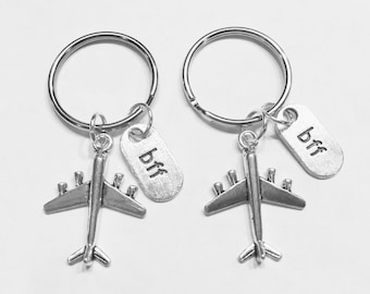 Best Friend Gift, Long Distance Airplane Keychain, Best Friend Keychain, Bff Partners In Crime Sisters Forever Travel Gift Keychain Set