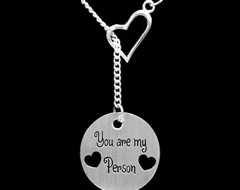 Best Friend Gift, You Are My Person You're My Person Necklace, Best Friend Necklace, Sister Y Lariat Necklace