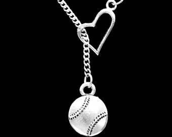 Baseball Necklace, Softball Necklace, Sports Necklace, Baseball Mom Mother Necklace, Heart Y Lariat Necklace
