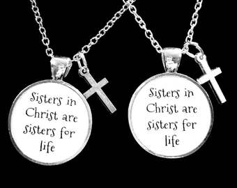 Best Friend Gift, Best Friend Necklace, Sisters In Christ Cross Necklace, Best Friend, BFF, Necklace Set