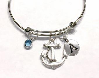 Gift For Her, Birthstone Initial Bangle Bracelet, Anchor Bangle Bracelet, Valentine Gift, Mother's Day Wife Daughter Bangle Bracelet