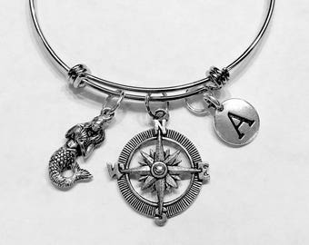 Gift For Her, Mermaid Compass Initial Bangle Bracelet, Nautical Bracelet Gift, Valentine Gift Wife Girlfriend Sister Mother Daughter