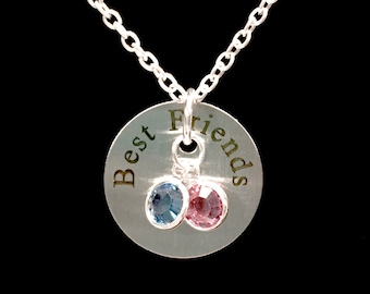 Best Friend Gift, Birthstone Necklace, Best Friend Necklace, Gift Bff Friendship Charm Necklace
