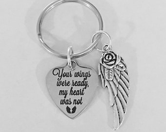 BR271 Personalised  engraved winged heart for you keyring with gift pouch ref
