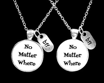 Best Friend Gift, No Matter Where Necklace, Long Distance, BFF Set, Friends Sisters Travel Mother Daughter Gift Necklace Set