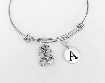 Gift For Her, Masquerade Mask Initial Bangle Bracelet, Mardi Gras Bracelet Gift, Mask Bangle Bracelet, Monogram
