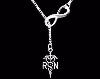 Nurse Gift Necklace, Infinity Nurse RN Gift Y Lariat Necklace