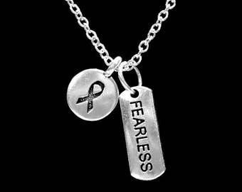Cancer Awareness Ribbon Fearless Necklace, Gift For Survivor Breast Ovarian Cancer Fighter Necklace