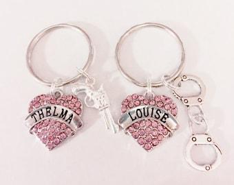 Best Friend Gift, Thelma Louise Keychain, Friend Keychain, Pink Partners In Crime Gun Handcuffs Friendship Sisters Gift Keychain Set