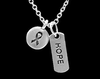 Cancer Awareness Ribbon Hope Necklace, Gift For Survivor Breast Ovarian Cancer Fighter Necklace