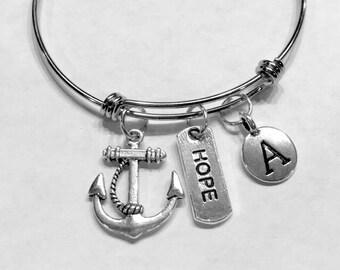 Christian Gift, Initial Bangle Bracelet, Anchor Hope Bracelet Gift, Bff Bangle, Friendship Sister Mother Daughter Christian Gift