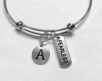 Gift For Her, Initial Bangle Bracelet, Fearless Bracelet Gift, Valentine Gift Friendship Sister Mother Daughter Bracelet