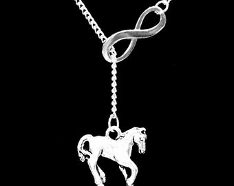 Gift For Her, Infinity Horse Necklace, Cowgirl Country Western Ranch Y Lariat Necklace