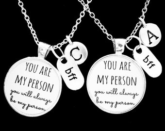 726309f34 Best Friend Gift, You're My Person Necklace Set, Best Friend Necklace, Best  Friend Jewelry, Bff Initial Necklace, Friendship Necklace Set