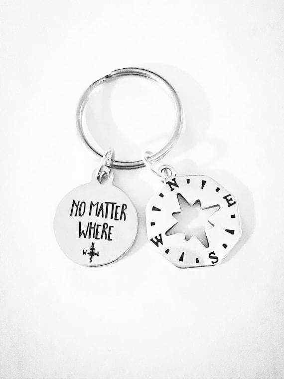 No Matter Where Compass Keychain Best Friend T Long