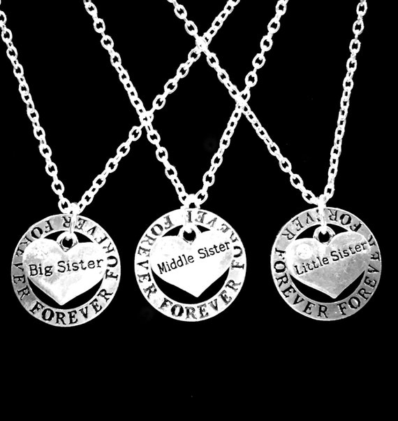 Sister Gift 3 Necklaces Forever Big Sister Middle Sister Little Sister Necklace Big Sis Lil Sis Set