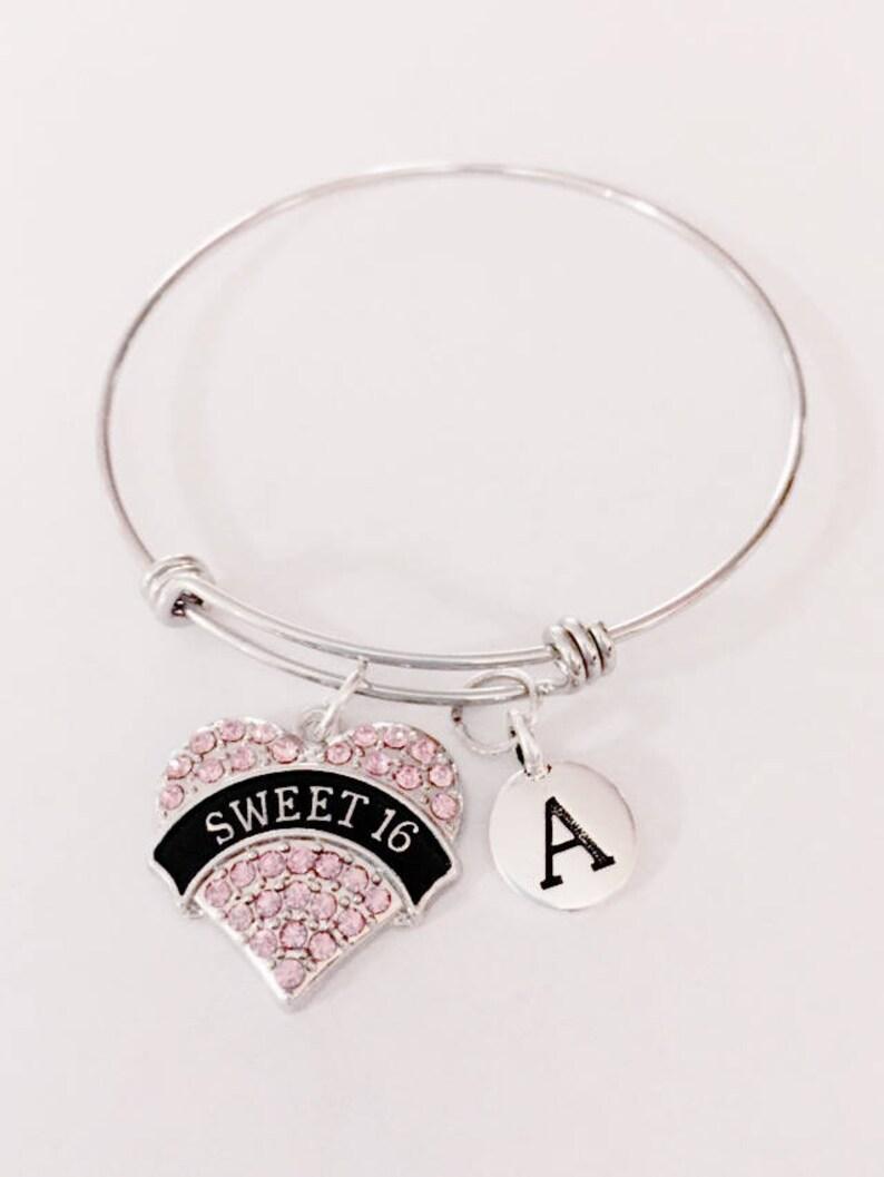Sixteen Birthday Daughter Bracelet Valentine Gift Bangle Bracelet Sweet 16 Wire Bangle Bracelet Initial Bangle Bracelet Gift For Her